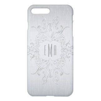 Metallic Silver Gray Floral Frame iPhone 8 Plus/7 Plus Case