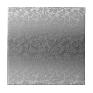 Metallic Silver Gray Monochromatic Fl Damasks Ceramic Tile