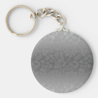 Metallic Silver Gray Monochromatic Floral Damasks Keychain