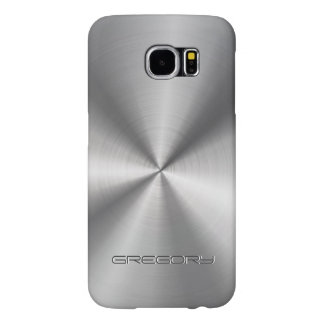 Metallic Silver Gray Stainless Steel Look Samsung Galaxy S6 Cases