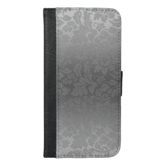 Metallic Silver Gray With Floral Damasks