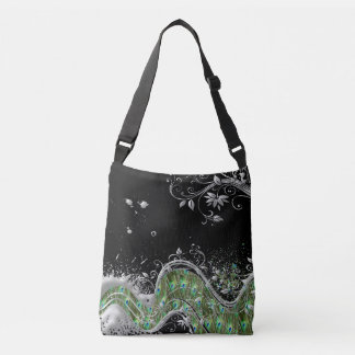 Metallic Silver Grunge Splat Peacock Pattern Crossbody Bag