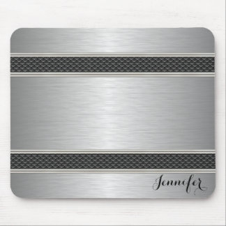 Metallic Silver Light Gray Brushed Aluminum Look 3 Mouse Pad