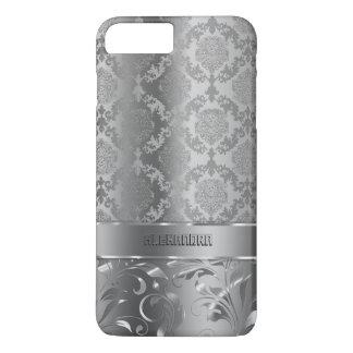 Metallic Silver Look Damasks & Lace iPhone 7 Plus Case