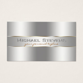 Metallic Silver Professional Elegant Business Card