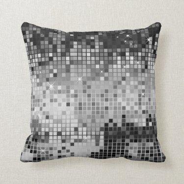 Metallic Silver Sequins Glitter Abstract Pixel Art Pillows