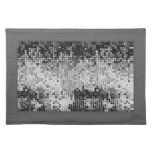 Metallic Silver Sequins Look-Disco Ball Pattern Placemat