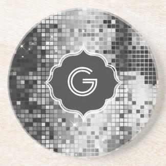 Metallic Silver Sequins Look Disco Mirror-Monogram Coasters