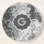 Metallic Silver Sequins Look Disco Mirror-Monogram Sandstone Coaster