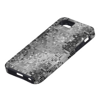 Metallic Silver Sequins Look Disco Mirrors Bling iPhone 5 Cover