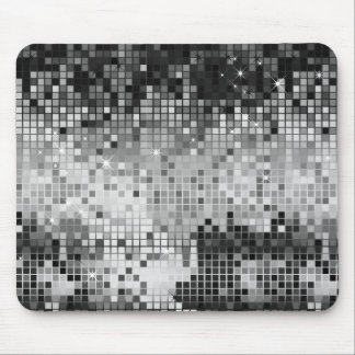 Metallic Silver Sequins Look Disco Mirrors Bling Mouse Pad