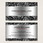 Metallic Silver Stainless Steel & Floral Damasks Business Card