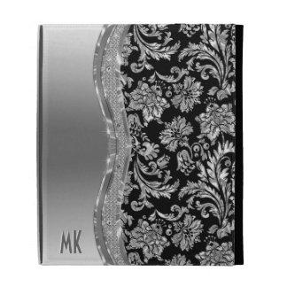 Metallic Silver Stainless Steel Look-Monogram iPad Folio Case