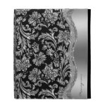 Metallic Silver Stainless Steel Look With Damasks iPad Case
