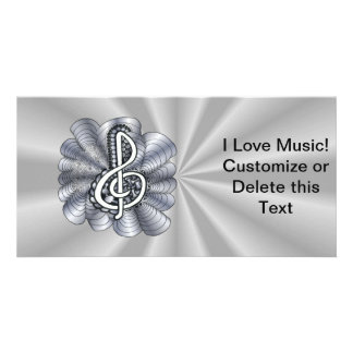 Metallic Silver Treble Clef Musical Art Card