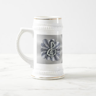 Metallic Silver Treble Clef Musical Art 18 Oz Beer Stein
