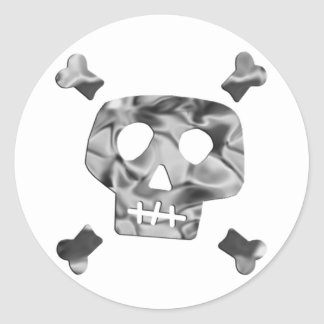 Metallic Skull Classic Round Sticker
