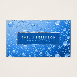 Metallic Sky Blue Rain Drops Silver Accents Business Card