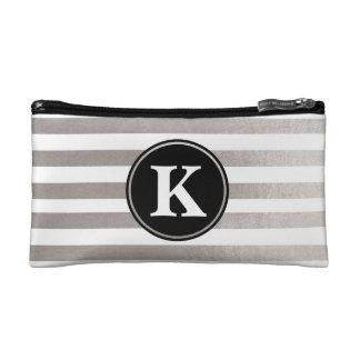 Metallic Sleek and Chic Striped Monogram Wristlets