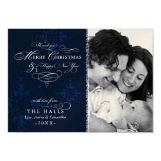 "Metallic Snowflake Navy Blue Christmas Photo 5"" X 7"" Invitation Card"