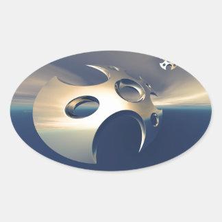 Metallic Space Pods Oval Sticker