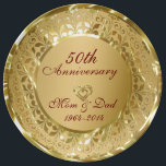 """Metallic Sparkling Gold 50th Anniversary Dinner Plate<br><div class=""""desc"""">Elegant sparkling gold with 2 hearts 50th wedding anniversary</div>"""