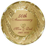 Metallic Sparkling Gold 50th Anniversary Dinner Plate<br><div class='desc'>Elegant sparkling gold with 2 hearts 50th wedding anniversary</div>