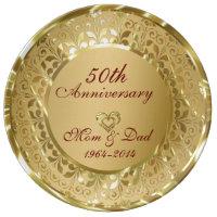 Metallic Sparkling Gold 50th Anniversary Dinner Plate