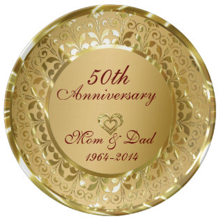 Metallic Sparkling Gold 50th Anniversary Dinner Plate at Zazzle