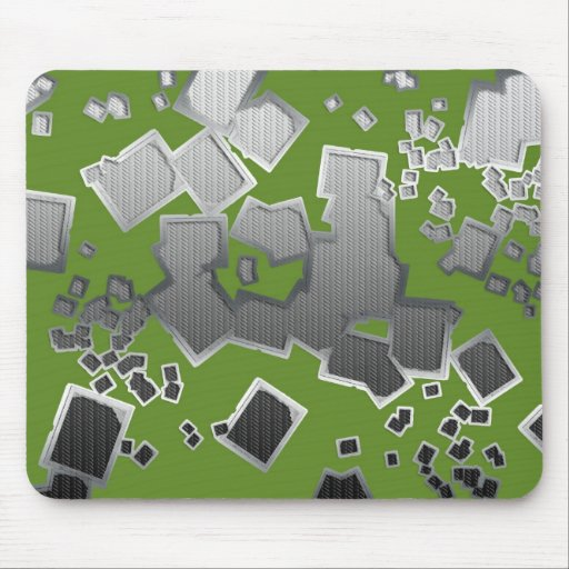 Metallic squares abstract mouse pad