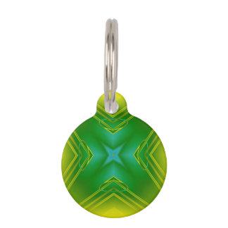 Metallic Star in Green & Yellow Pet Tag