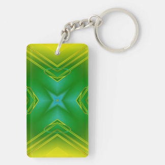 Metallic Star in Green & Yellow Keychain
