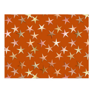 Metallic stars, pale gold and copper shades postcard