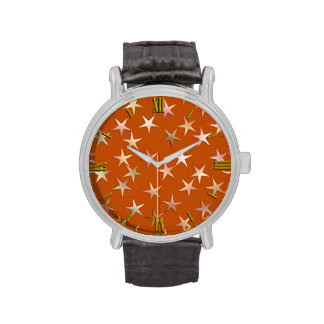 Metallic stars, pale gold and copper shades wrist watch