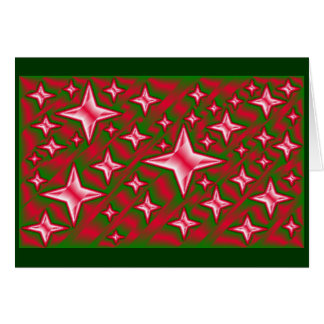 Metallic Stars Red Green Christmas Template Stationery Note Card