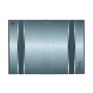 Metallic Steel Blue Brushed Aluminum Look Cover For iPad Mini