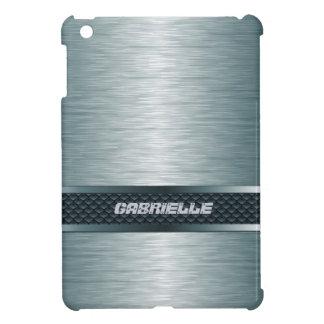 Metallic Steel Blue Brushed Aluminum Look Monogram iPad Mini Cover