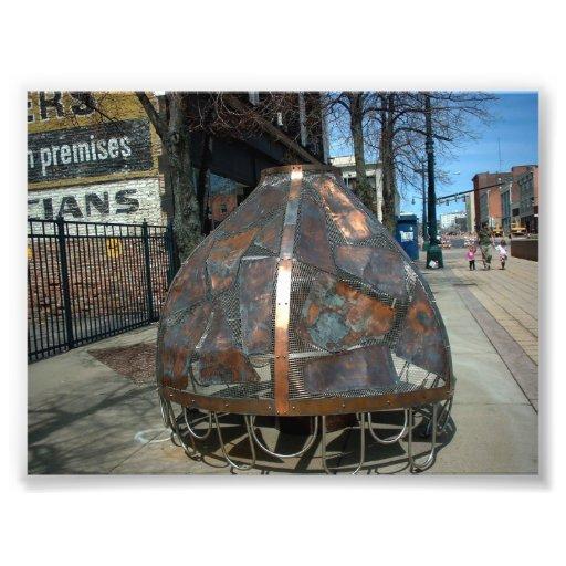 Metallic Street Sculpture in Buffalo NY Photo Print