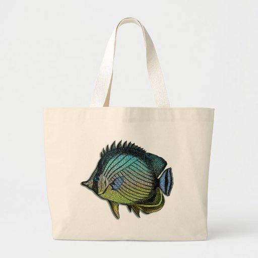 Metallic Striped Tropical Butterfly  Fish Jumbo Tote Bag