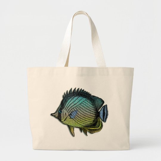Metallic Striped Tropical Butterfly  Fish Large Tote Bag