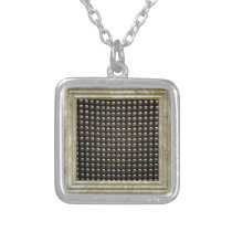 Metallic Studs Pattern Silver Plated Necklace