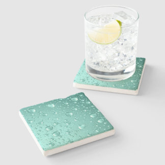 Metallic Teal-Green Abstract Rain Drops Stone Coaster