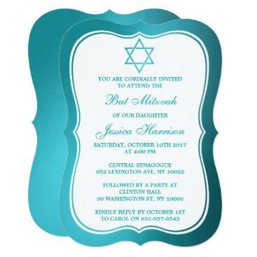 Beach Themed Metallic Teal Jewish Star Of David Bat Mitzvah Card