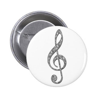 Metallic Treble Clef Pinback Button
