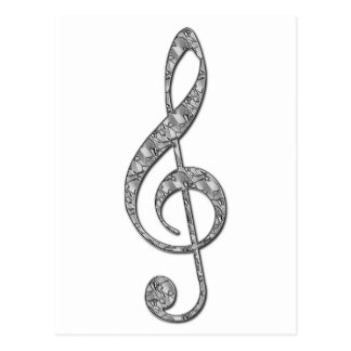 Metallic Treble Clef Postcard