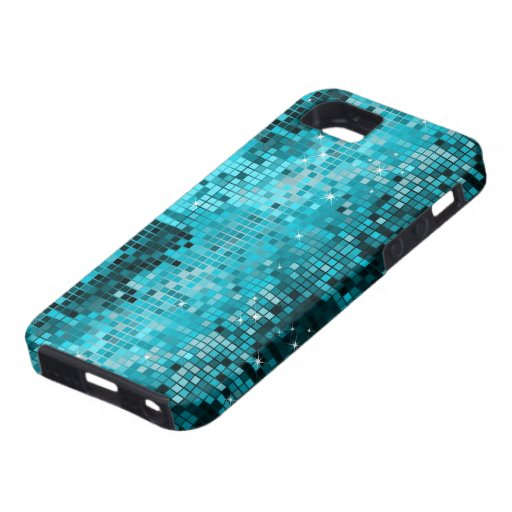 Metallic Turquois Sequins Look Disco Mirrors Bling iPhone 5 Covers