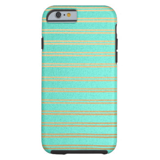 Metallic Turquoise and Gold Shimmer Stripes Tough iPhone 6 Case