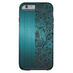 Metallic Turquoise Background & Black Floral Lace Tough iPhone 6 Case