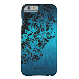 Metallic Turquoise Brushed Aluminum Black Lace 2 Barely There iPhone 6 Case