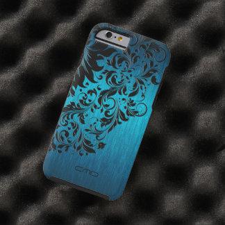 Metallic Turquoise Brushed Aluminum Black Lace 2 Tough iPhone 6 Case